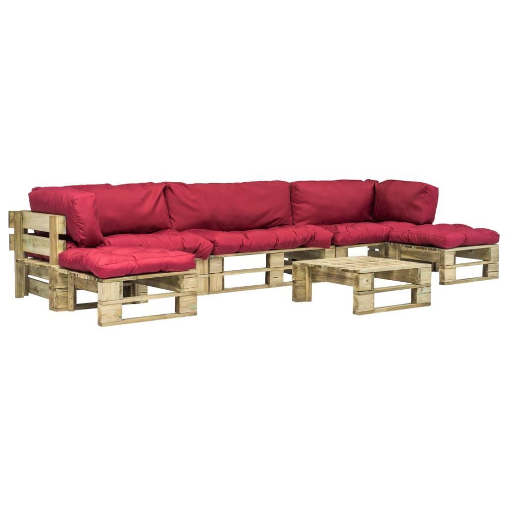 vidaXL Set mobilier de grădină paleți cu perne roșii, 6 piese, lemn poza 2021 vidaXL