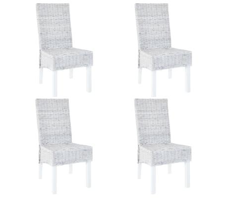 vidaXL Dining Chairs 4 pcs Grey Kubu Rattan and Mango Wood