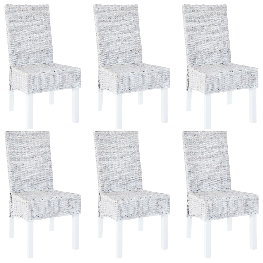 vidaXL Καρέκλες Τραπεζαρίας 6 τεμ. Γκρι από Ρατάν Kubu και Ξύλο Μάνγκο