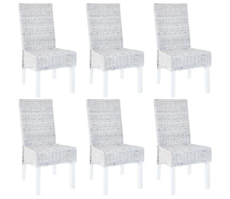 vidaXL Dining Chairs 6 pcs Grey Kubu Rattan and Mango Wood