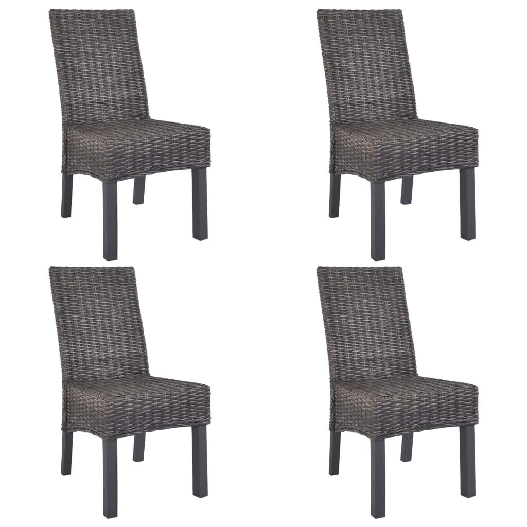vidaXL Καρέκλες Τραπεζαρίας 4 τεμ. Καφέ από Ρατάν Kubu και Ξύλο Μάνγκο
