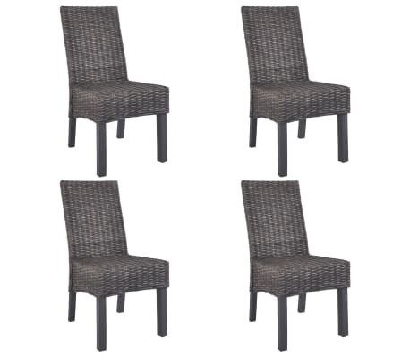 vidaXL Dining Chairs 4 pcs Brown Kubu Rattan and Mango Wood