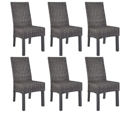 vidaXL Dining Chairs 6 pcs Brown Kubu Rattan and Mango Wood