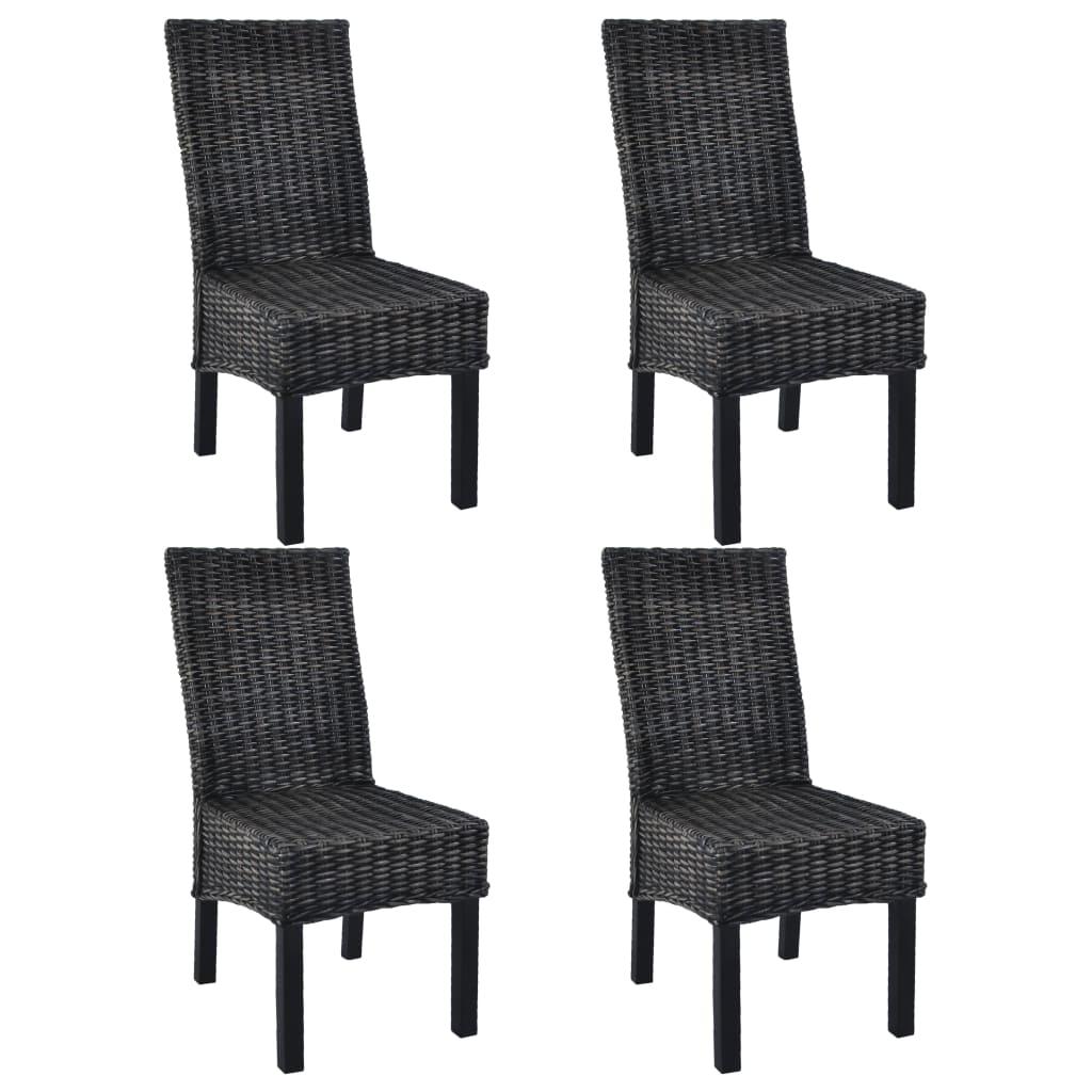 vidaXL Καρέκλες Τραπεζαρίας 4 τεμ. Μαύρες Ρατάν Kubu και Ξύλο Μάνγκο