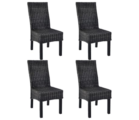 vidaXL Dining Chairs 4 pcs Black Kubu Rattan and Mango Wood