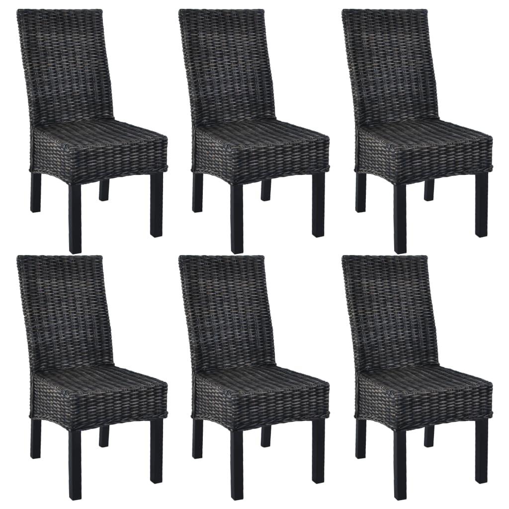 vidaXL Καρέκλες Τραπεζαρίας 6 τεμ. Μαύρες Ρατάν Kubu και Ξύλο Μάνγκο