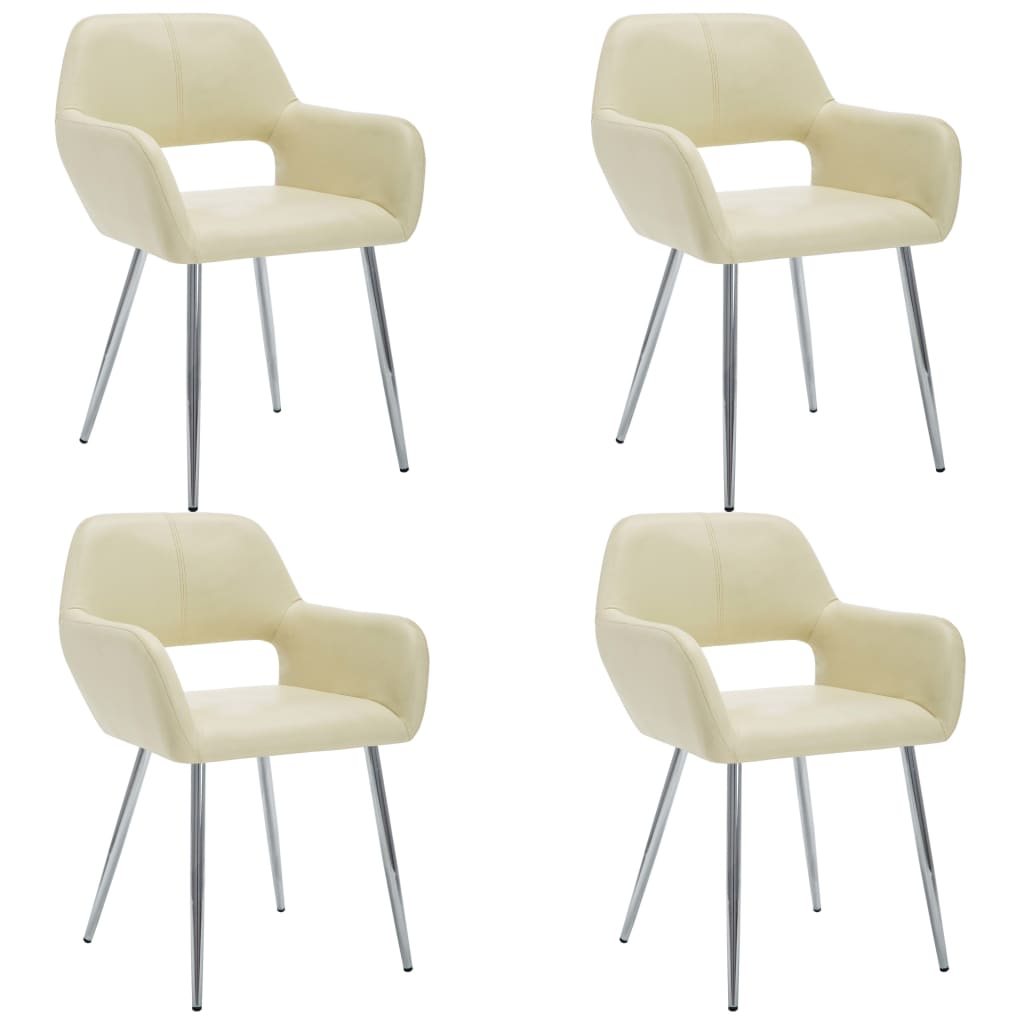 vidaXL Καρέκλες Τραπεζαρίας 4 τεμ. Κρεμ 57x54x81 εκ. Συνθετικό Δέρμα