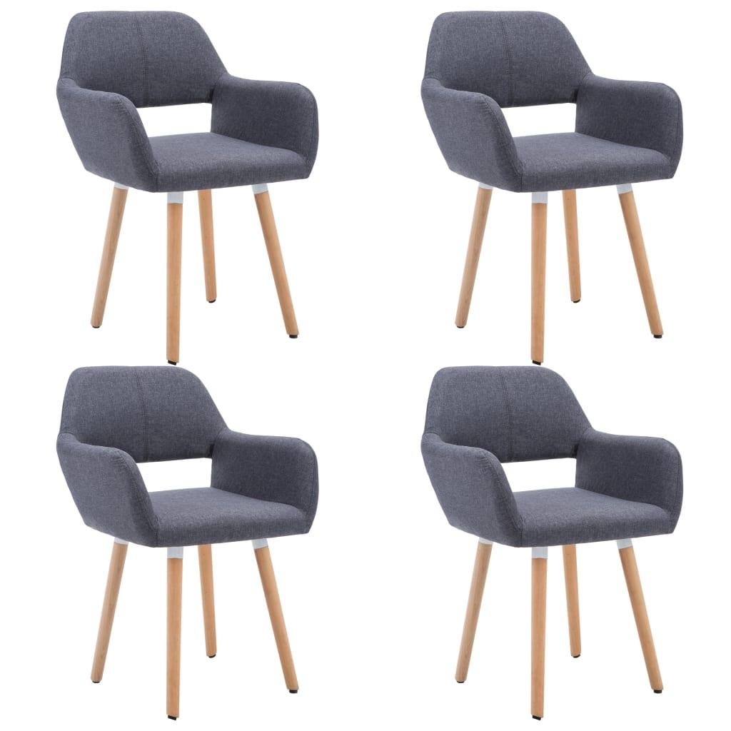vidaXL Καρέκλες Τραπεζαρίας 4 τεμ. Σκούρο Γκρι Υφασμάτινες