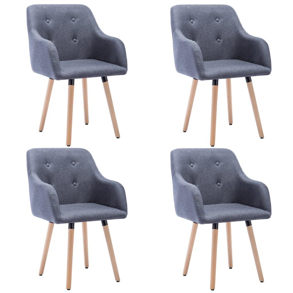 vidaXL Καρέκλες Τραπεζαρίας 4 τεμ. Σκούρο Γκρι 55x55x84 εκ Υφασμάτινες