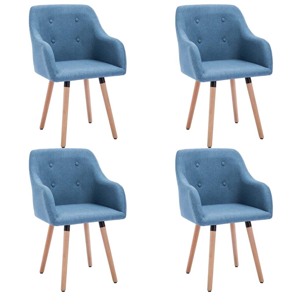 vidaXL Καρέκλες Τραπεζαρίας 4 τεμ. Μπλε 55x55x84 εκ. Υφασμάτινες