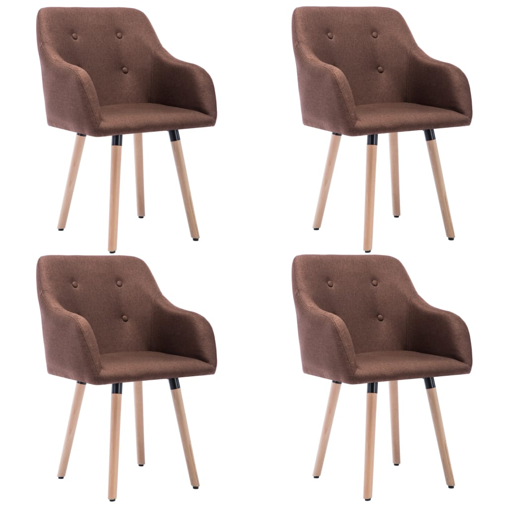 vidaXL Krzesła stołowe, 4 szt., brązowe, tkanina