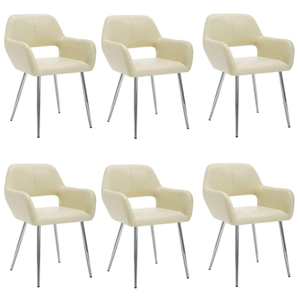 vidaXL Καρέκλες Τραπεζαρίας 6 τεμ. Κρεμ 57x54x81 εκ. Συνθετικό Δέρμα