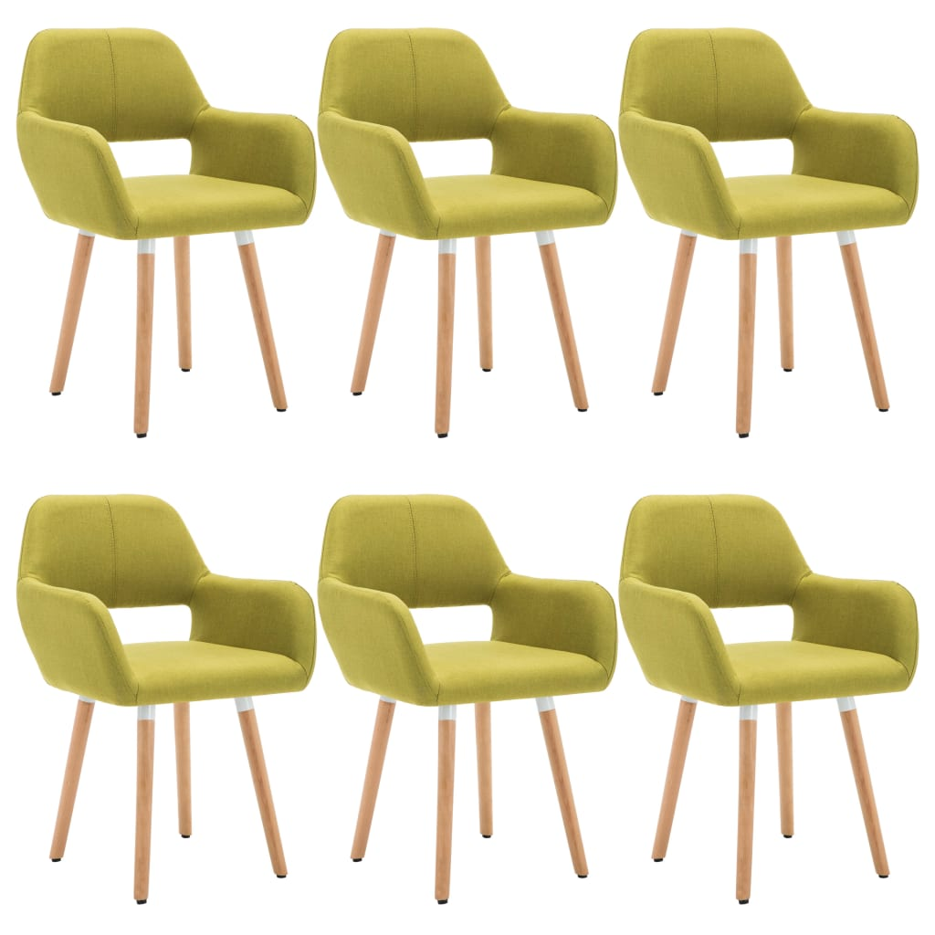 vidaXL Καρέκλες Τραπεζαρίας 6 τεμ. Πράσινες 56x54x80 εκ. Υφασμάτινες