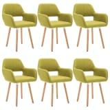 vidaXL Valgomojo kėdės, 6vnt., aud. apmuš., 56x54x80cm, žalios