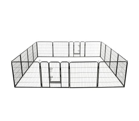 "vidaXL Dog Playpen 16 Panels Steel 31.5""x31.5"" Black"