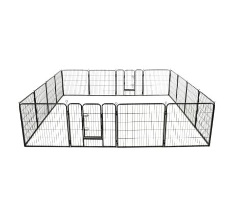 vidaXL Ograda za pse s 16 jeklenimi paneli 80x80 cm črne barve