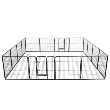 vidaXL Ograda za pse s 16 jeklenimi paneli 80x80 cm črne barve[1/8]