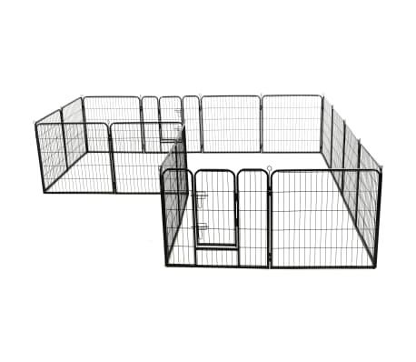 vidaXL Ograda za pse s 16 jeklenimi paneli 80x80 cm črne barve[3/8]