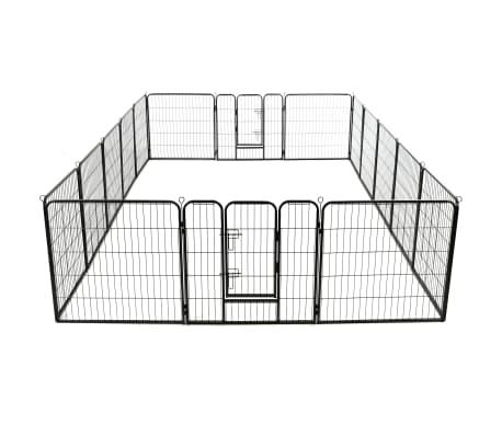 vidaXL Ograda za pse s 16 jeklenimi paneli 80x80 cm črne barve[5/8]