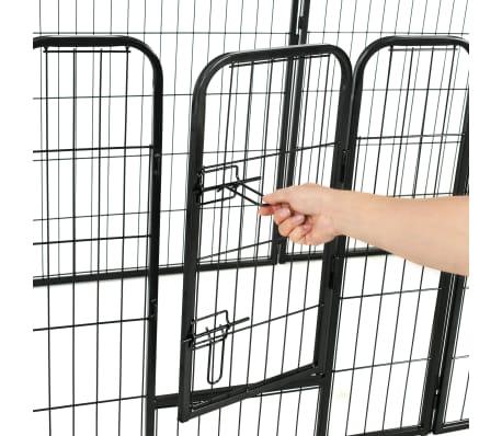 vidaXL Ograda za pse s 16 jeklenimi paneli 80x80 cm črne barve[7/8]