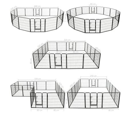 vidaXL Ograda za pse s 16 jeklenimi paneli 80x80 cm črne barve[8/8]