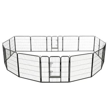 vidaXL Ograda za pse s 16 jeklenimi paneli 80x80 cm črne barve[2/8]