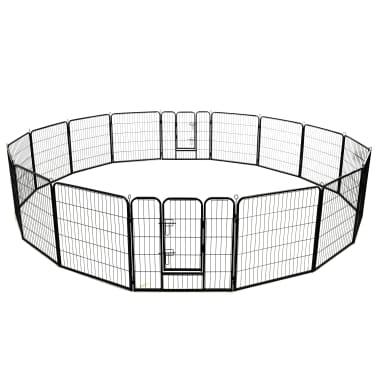 vidaXL Ograda za pse s 16 jeklenimi paneli 80x80 cm črne barve[4/8]