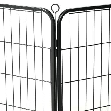vidaXL Ograda za pse s 16 jeklenimi paneli 80x80 cm črne barve[6/8]