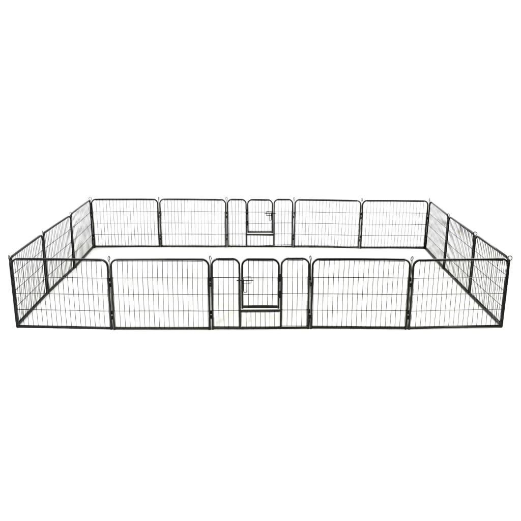 vidaXL Ohrádka pro psy 16 panelů ocelová 60 x 80 cm černá