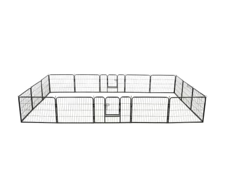 vidaXL Dog Playpen 16 Panels Steel 60x80 cm Black