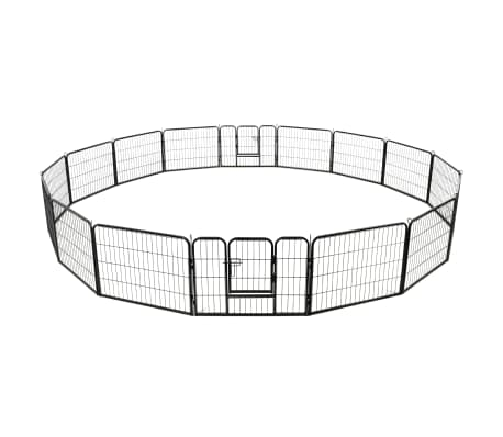 "vidaXL Dog Playpen 16 Panels Steel 31.5""x23.6"" Black[4/8]"