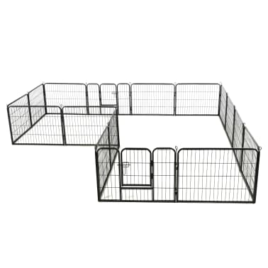 "vidaXL Dog Playpen 16 Panels Steel 31.5""x23.6"" Black[3/8]"