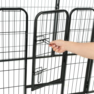 "vidaXL Dog Playpen 16 Panels Steel 31.5""x23.6"" Black[7/8]"