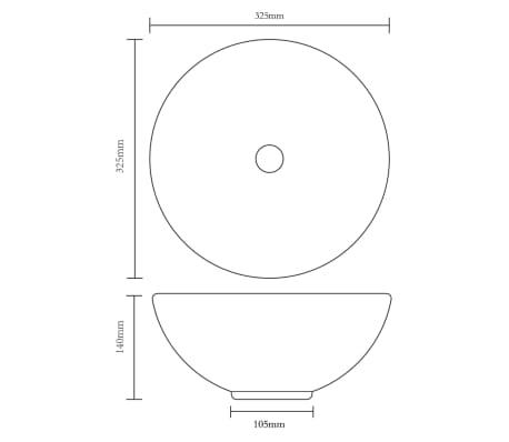 vidaXL Lavabo de baño con grifo mezclador cerámica redondo blanco[11/12]