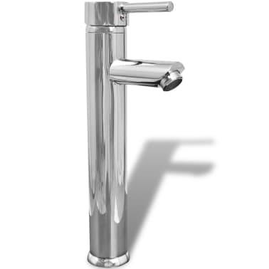vidaXL Lavabo de baño con grifo mezclador cerámica redondo blanco[7/12]