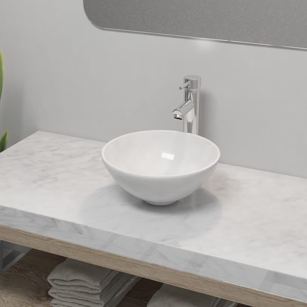 vidaXL Chiuvetă de baie cu robinet mixer, ceramică, rotund, alb poza 2021 vidaXL