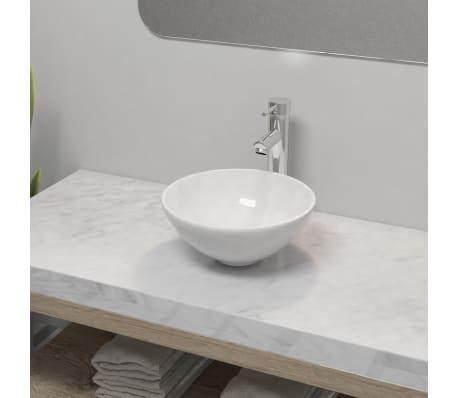 vidaXL Lavabo de baño con grifo mezclador cerámica redondo blanco[1/12]