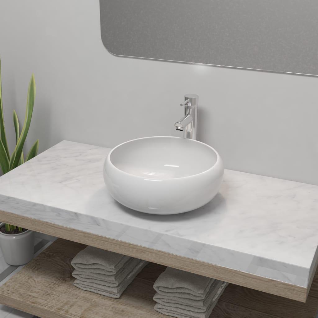 vidaXL Chiuvetă de baie cu robinet mixer, ceramică, rotund, alb imagine vidaxl.ro
