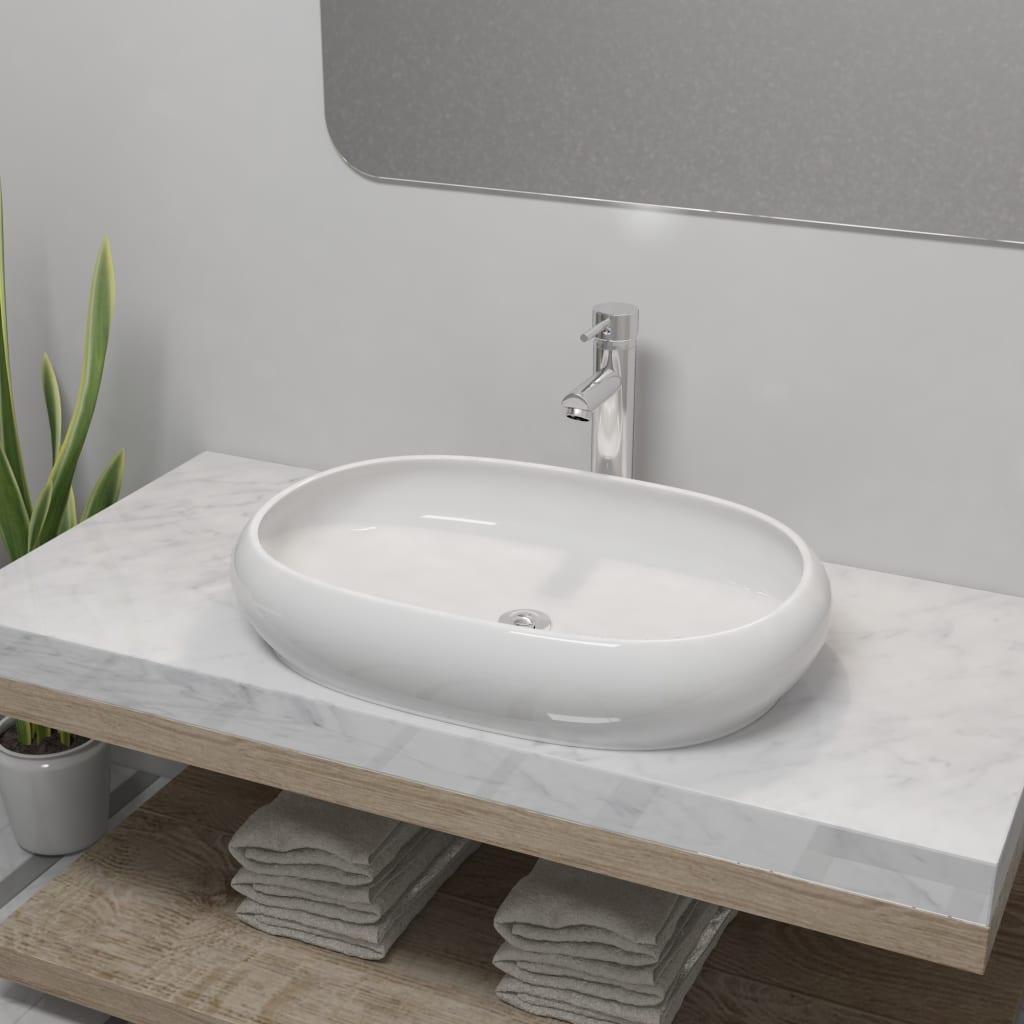 vidaXL Chiuvetă de baie cu robinet mixer, ceramic, oval, alb poza 2021 vidaXL