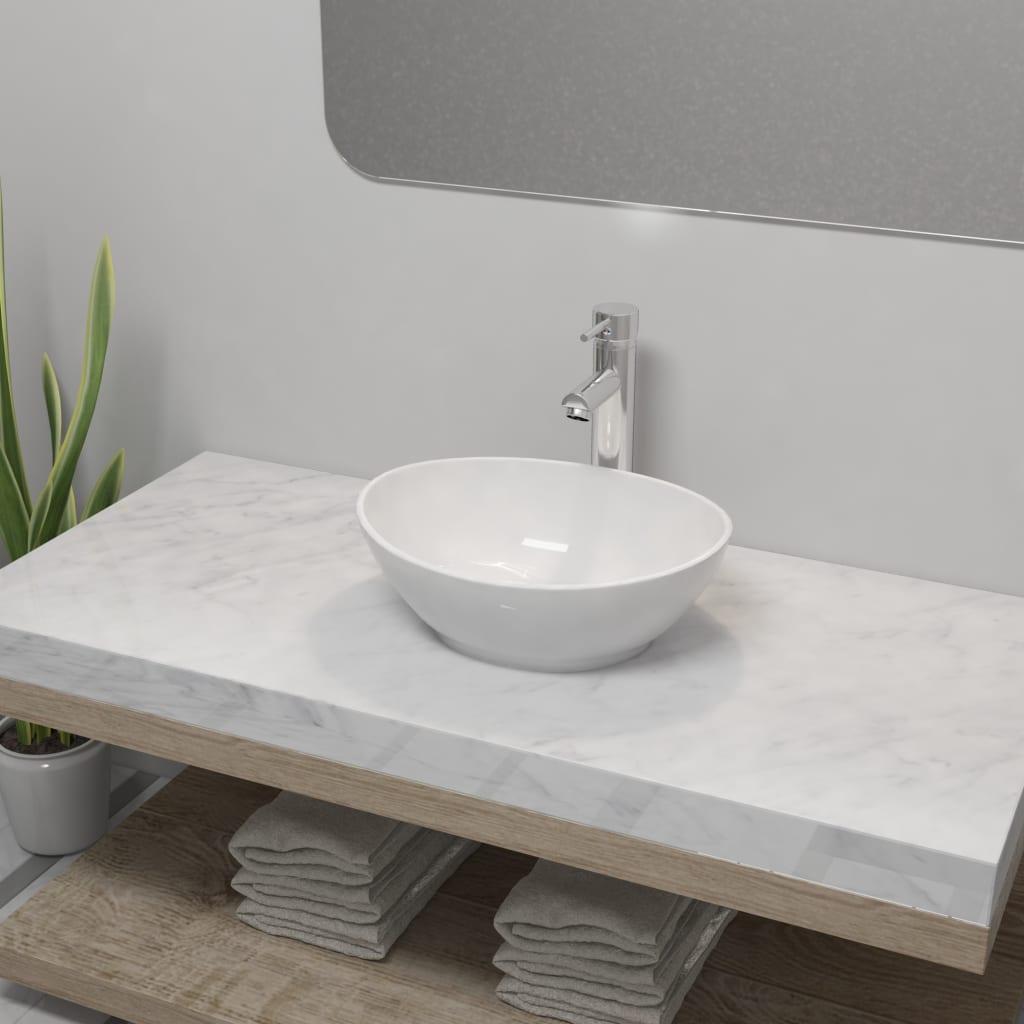 vidaXL Chiuvetă de baie cu robinet mixer, ceramică, oval, alb poza 2021 vidaXL