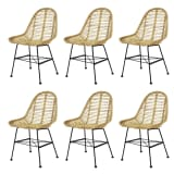 vidaXL Dining Chairs 6 pcs Natural Rattan