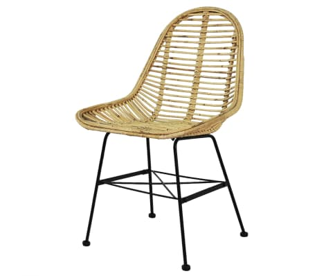 vidaXL Dining Chairs 6 pcs Natural Rattan[2/5]