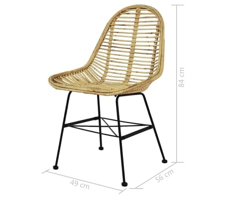 vidaXL Dining Chairs 6 pcs Natural Rattan[5/5]