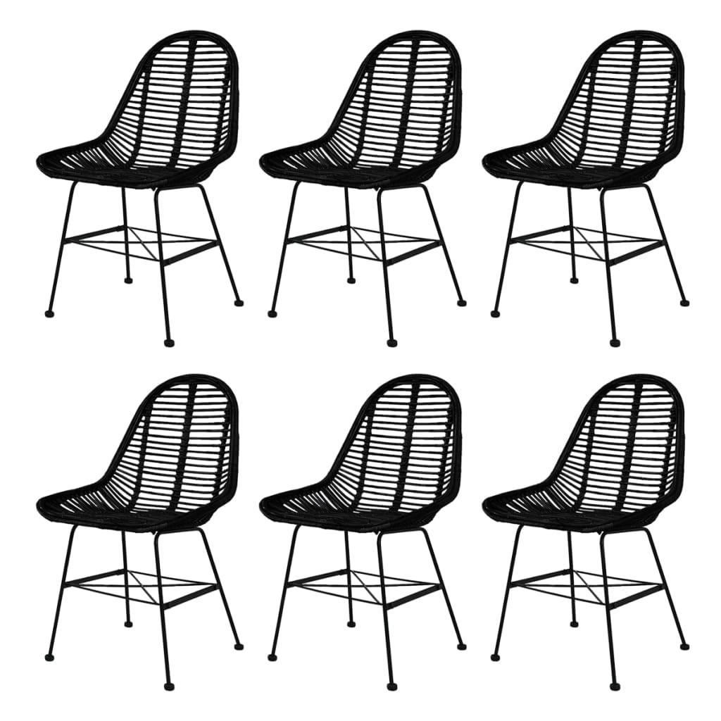 vidaXL Καρέκλες Τραπεζαρίας 6 τεμ. Μαύρες από Γνήσιο Ρατάν