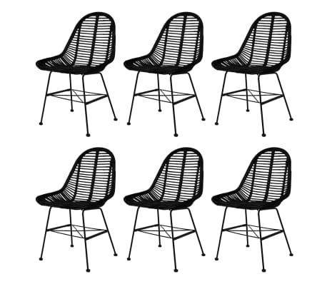 vidaXL Dining Chairs 6 pcs Natural Rattan Black[1/5]