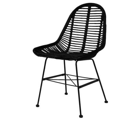 vidaXL Dining Chairs 6 pcs Natural Rattan Black[2/5]