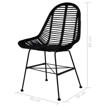 vidaXL Dining Chairs 6 pcs Natural Rattan Black[5/5]
