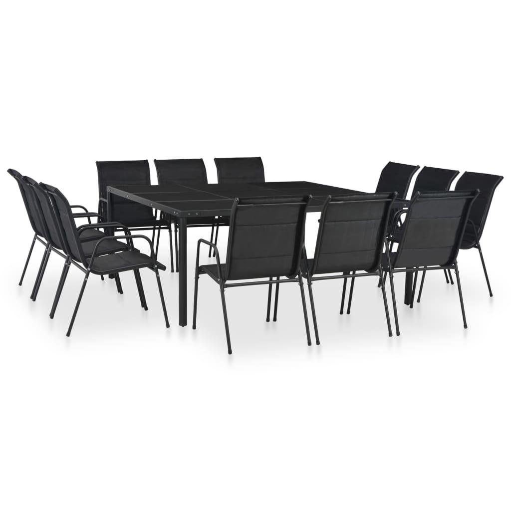 vidaXL Set mobilier de exterior, 13 piese, negru, oțel poza vidaxl.ro