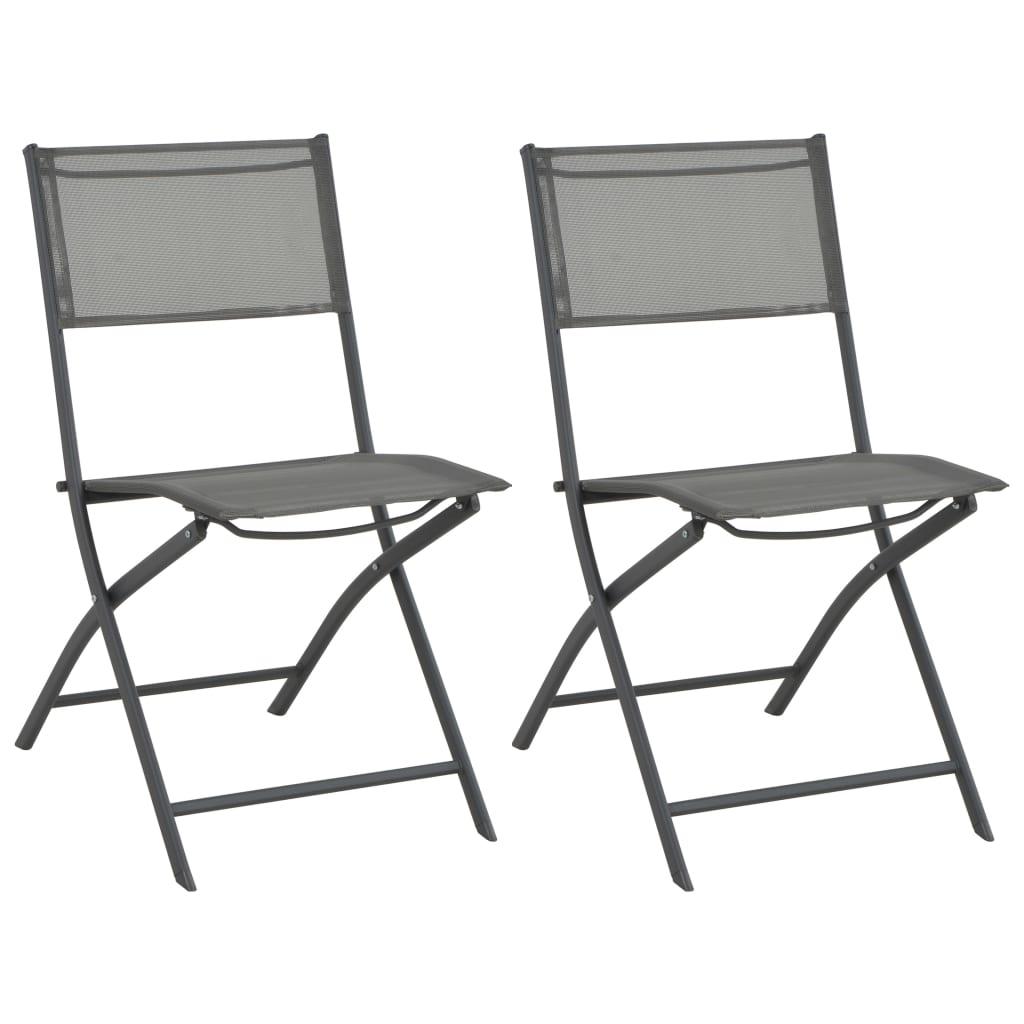 vidaXL Skládací zahradní židle 2 ks z oceli a textilenu