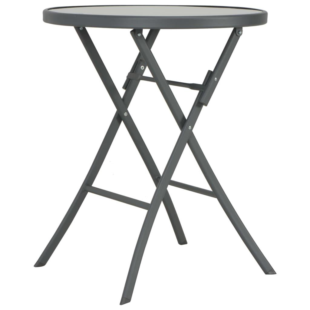 vidaXL Skládací bistro stůl šedý 60 x 70 cm sklo a ocel